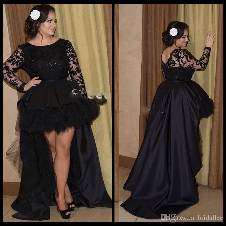 Black High Low Prom Dresses Arabic Abiye 2017 Long Sleeve Lace Formal Evening Gowns Robe De Soiree Chic Women Night Party Dress