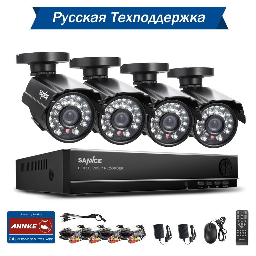 cctv wireless camera wifi SANNCE 8CH CCTV System 1080P Output DVR 4PCS  900TVL IR Outdoor CCTV Camera Home Security System