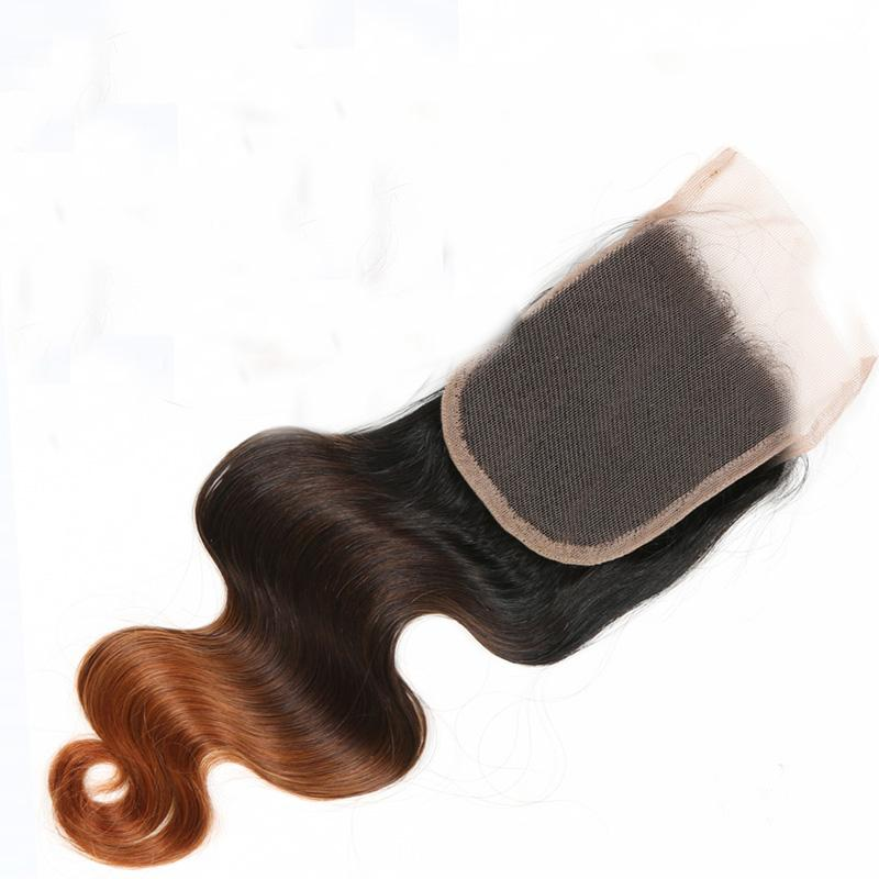 Ombre Malaysian Body Wave Lace Closure 4*4 Free Part T1b 4 30 Three Tone 8A Grade Virgin Remy Human Hair 10-20 inch