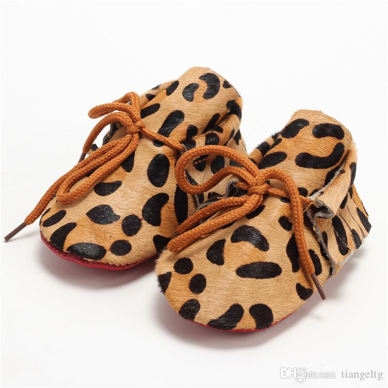Baby Girl Shoes Newborn Leopard Baby Toddler Shoes Full Leather Horsehair Soft Bottom Baby Shoes Sandalias para niños