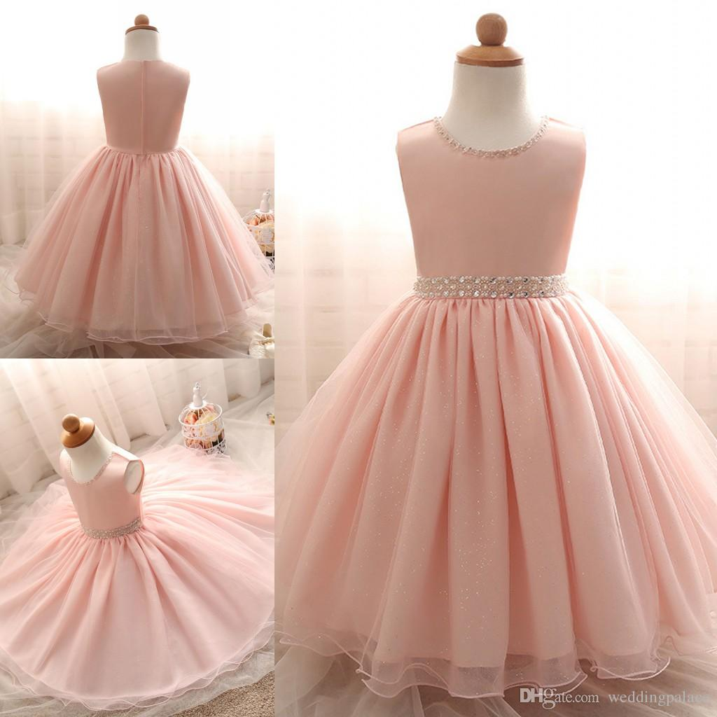 Pretty Newest O Neck Pink Flower Girl Dresses Sequin Beaded Tulle