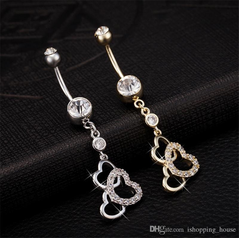 Vendita calda di alta qualità 3 cuore ombelico bar bell button anelli piercing ombelico gioielli il corpo ragazze calde BR-043