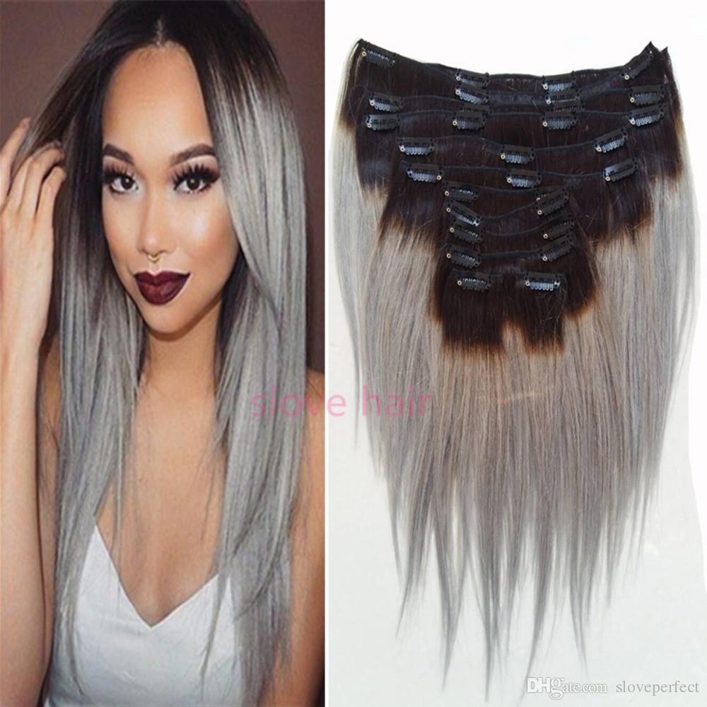 Ombre Silver Gray Clip In Human Hair Extension Sexy Hot Brazilian