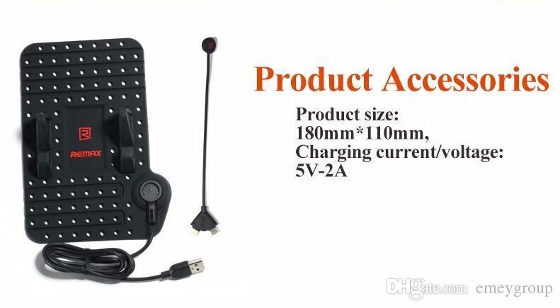 Supporto telefono cellulare Remax iPhone 8 7 Samsung s6 s7 s8 plus note8 Supporto regolabile telefono GPS Supporto supporto da auto + Cavo USB