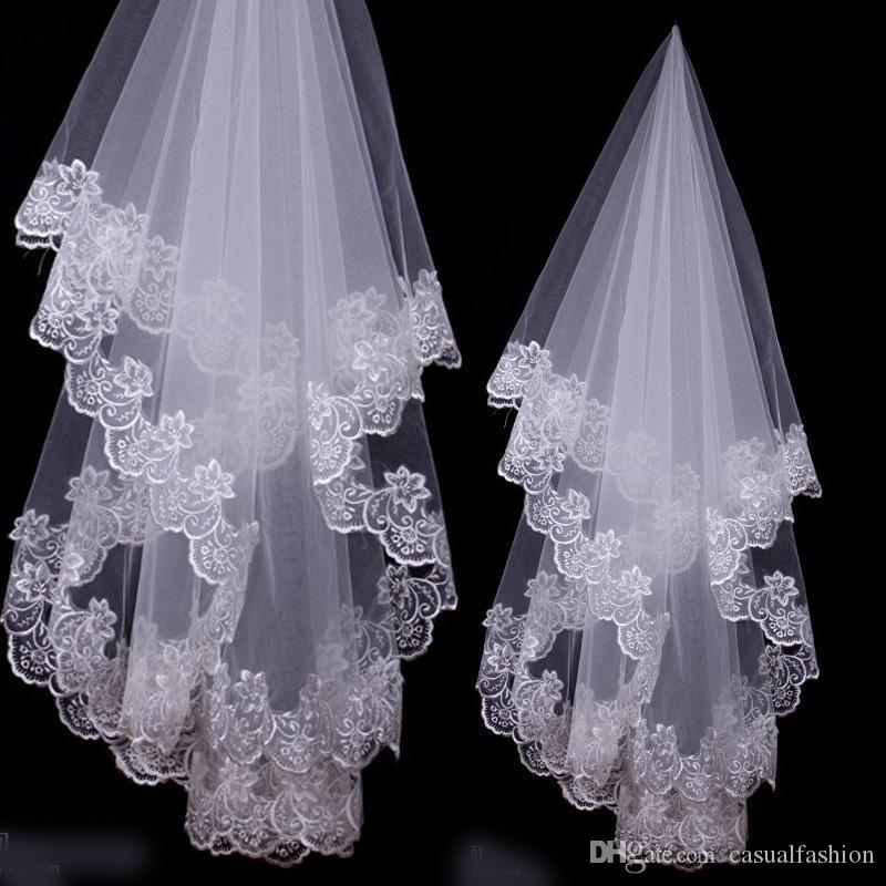 Bridal Veils Charming Cheap Girls Wedding Bridal Accessories Veil For Wedding Lace White Ivory Color Hot Sale Charming
