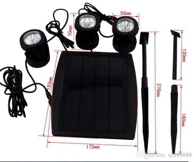 LEDs 태양 전원 3 램프 풍경 스포트라이트 프로젝션 빛 정원 수영장 연못 야외 조명 수중 조명