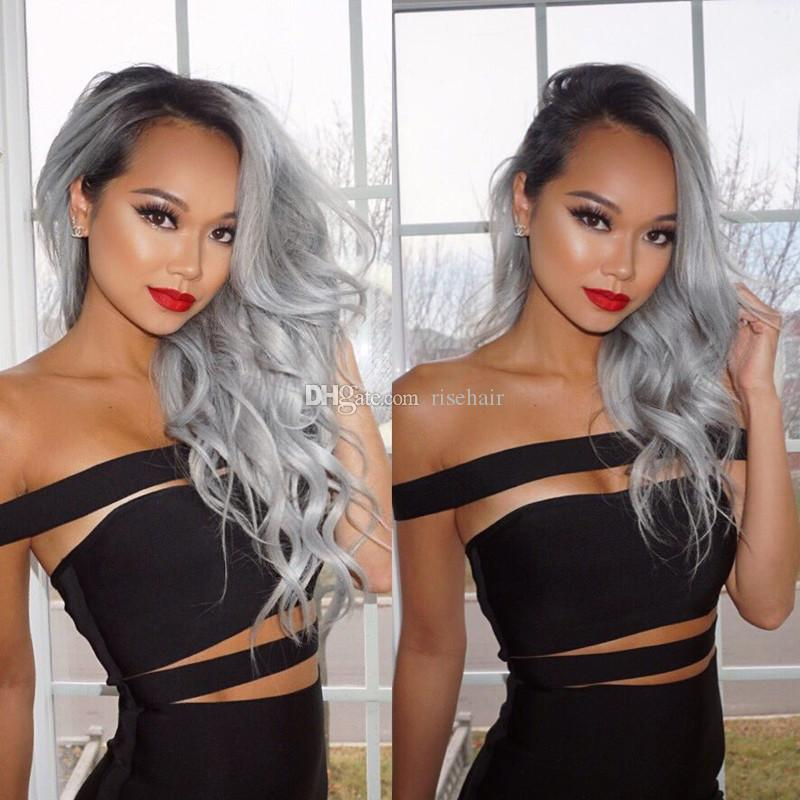 Dark Root Ombre Long Wavy Human Hair Lace Front Wig 1B Grey Full Lace Human Hair Wigs For Women
