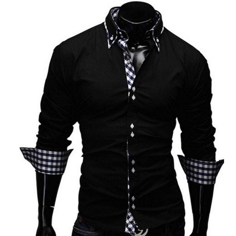 ef77aa8b4 Compre Venta Al Por Mayor Camisas Hombre Vestir Camisas De Vestir Para Hombre  Camisa Slim Fit Chemise Homme Camisa De Hombre Enrejado Decorativo Heren ...