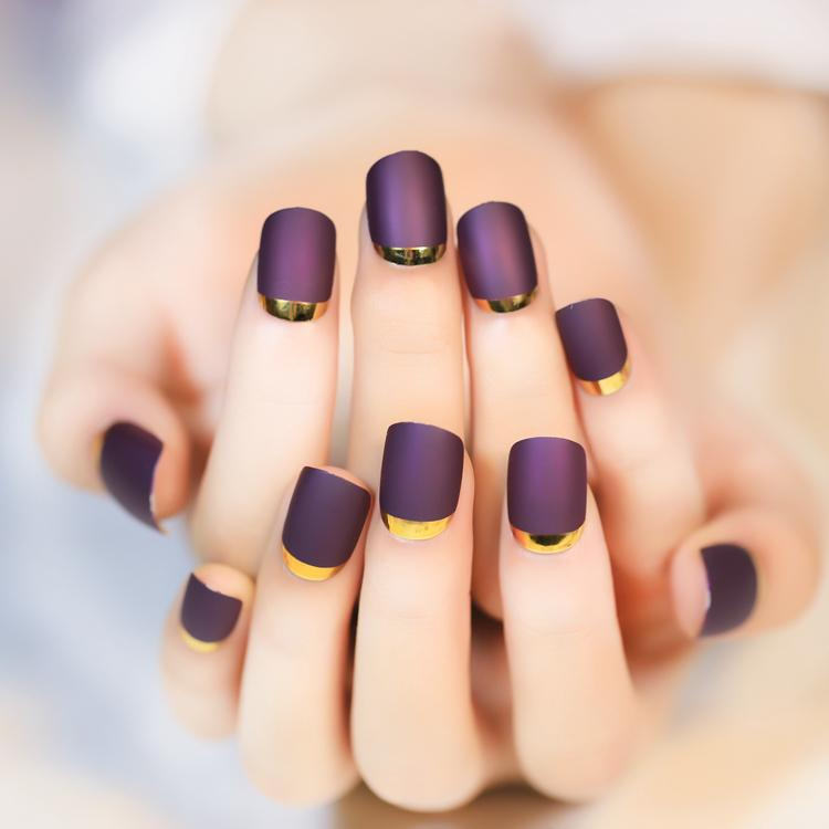 Wholesale 2016 New Hot Turn Over French Purple Fake Nails With ...