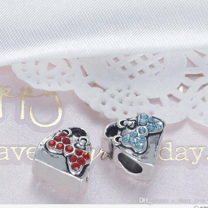 Fashion Rhinestone Bowknot Handbag Alloy Metal Beads for Jewelry Making DIY Beads for Bracelet Wholesale in Bulk Low Price REB51
