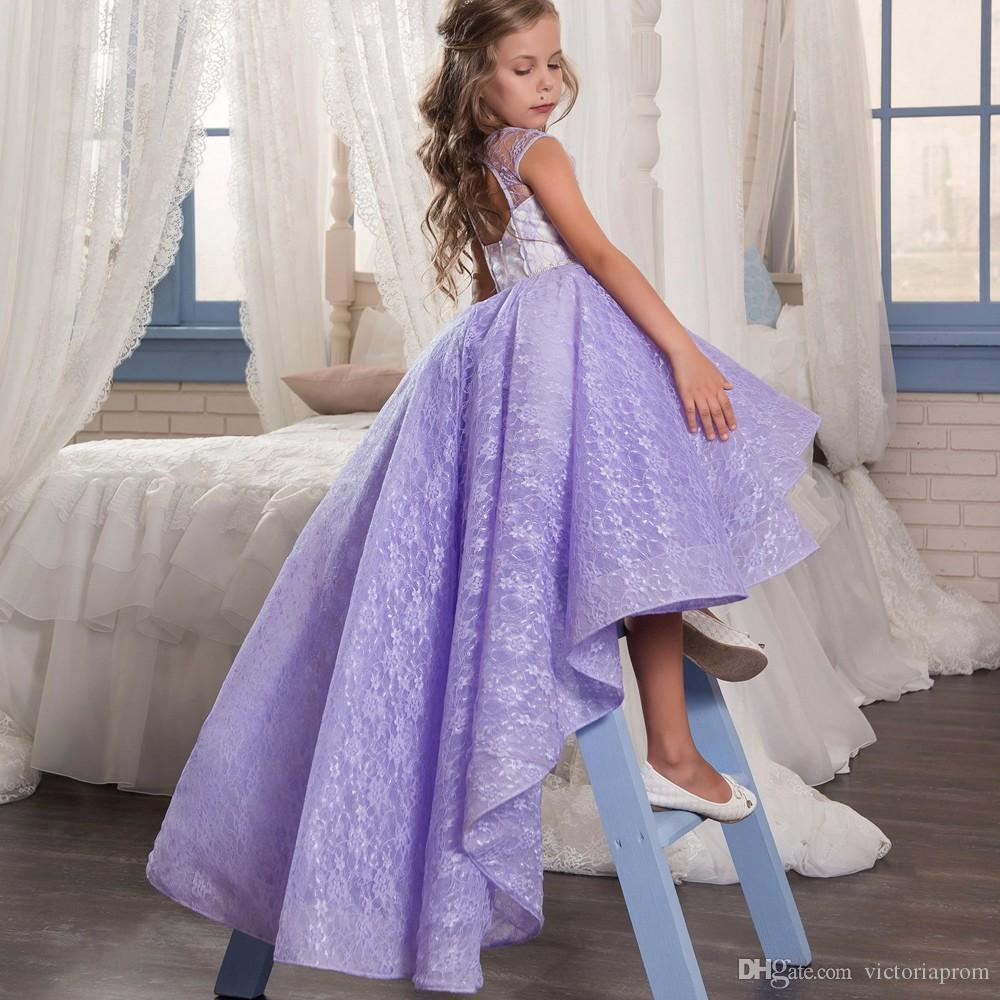 Fancy Lilac Little Girls Pageant Dress Sleeveless Lace Purple Flower Girl Dresses Wedding Christmas Party Gowns High Low Ball Gowns 0-12 Y