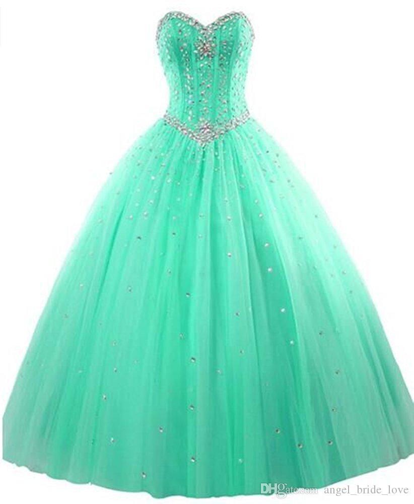 2017 새로운 우아하고 세련 된 가운 Tulle Quinceanera 드레스와 비즈 16 달콤한 드레스 15 년 파티 파티 드레스 WD1015