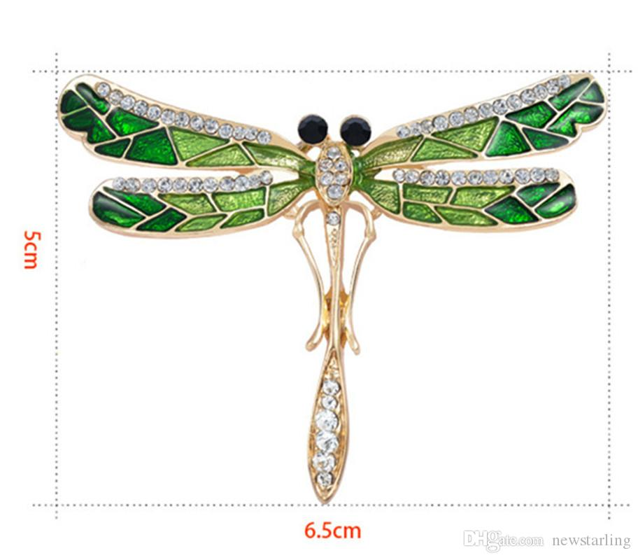 Fashion Girl Vintage Lovely Enameling Dragonfly Crystal Rhinestone Scarf Pins Brooches Personalized Insects Clothing Decoration For Women