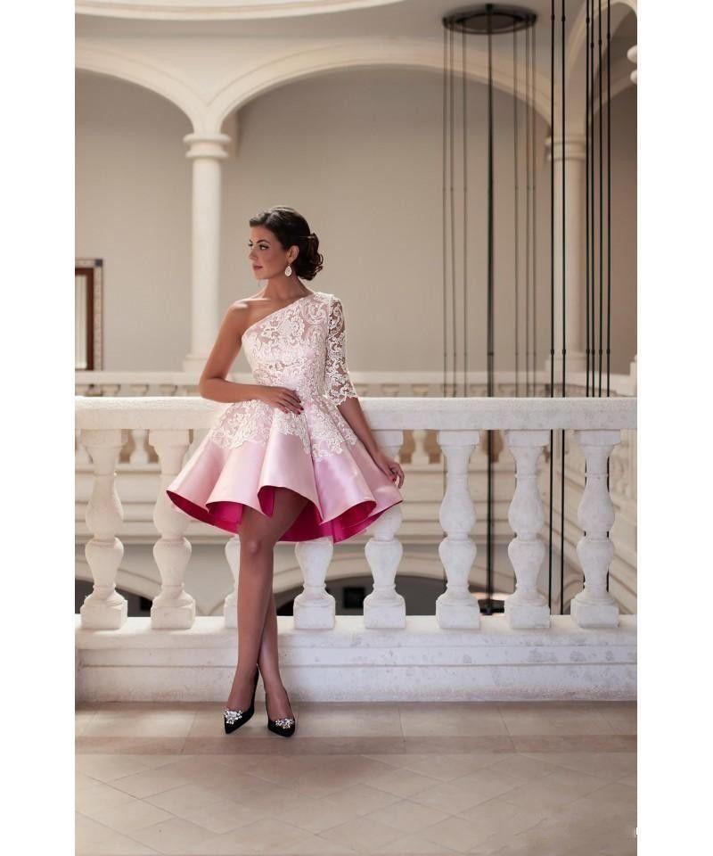 New Curto Mini Mulheres Vestidos de Cocktail de Um Ombro Rosa Apliques de Renda de Cetim A Linha Plissado Vestidos de Baile Vestido de Festa Formal Vestidos de Baile