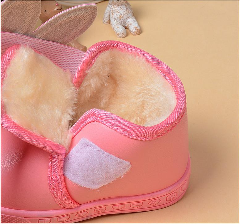 2016 cute bow rabbit head crystal warm thick winter toddler ankle short boots shoes baby girl kids child plush pu rubber hook loop