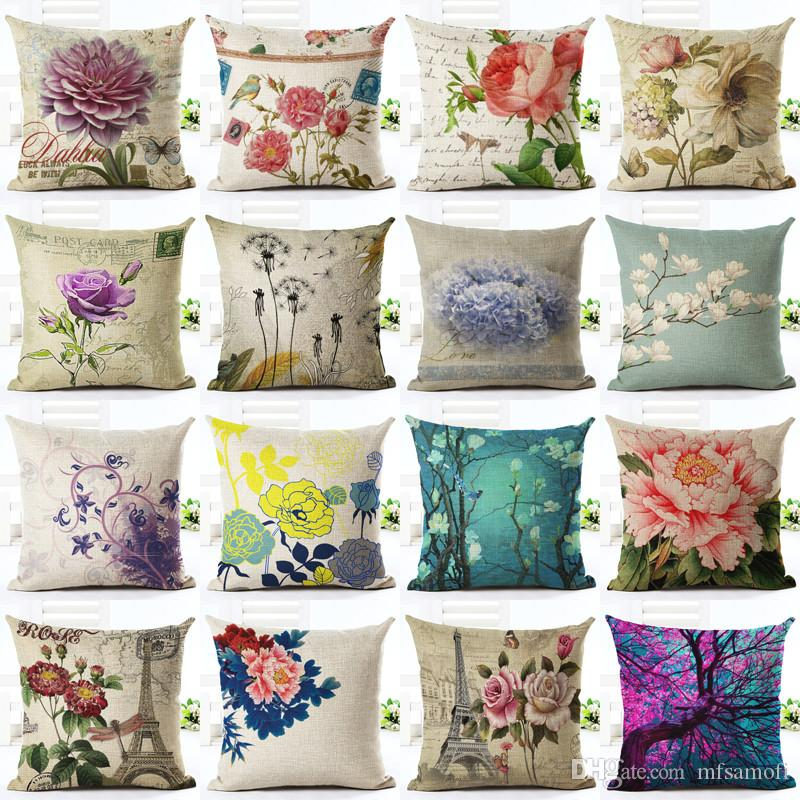 Vintage Flowers Cotton Linen Cushion Cover Decorative Pillowcase Chair Seat  And Waist Square 45x45cm Pillow Cover Home Living Outdoor Wicker Chair  Cushions ...