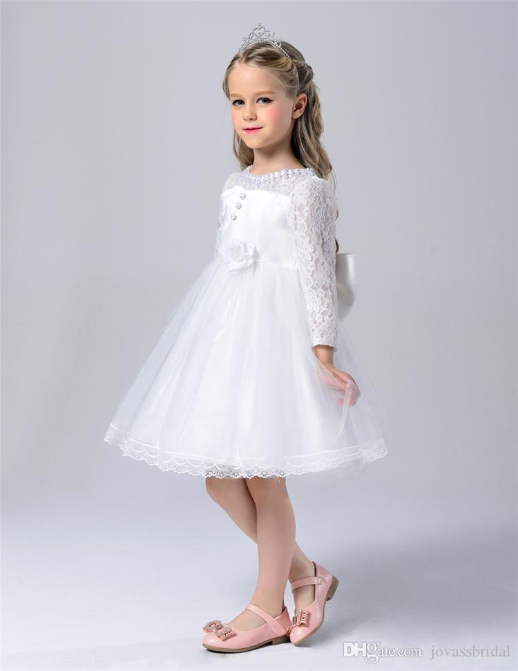 2016 Short Flower Girl Dresses Princess glitz cupcake pageant dress Lace Applique Flowers Long Sleeve Custom Kids Wedding Party Dresses12