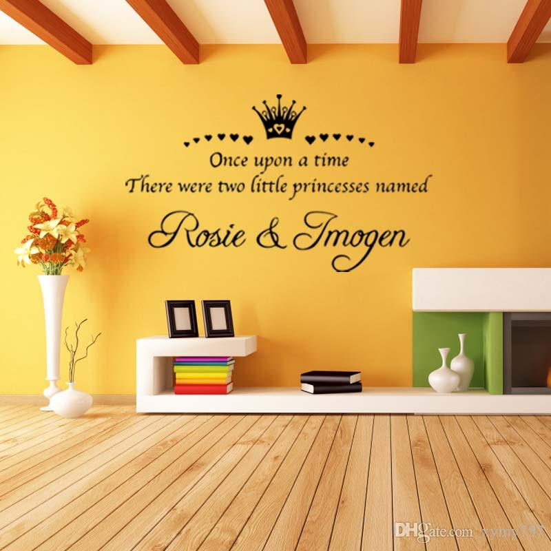 Personalised Twins Princess Crown Sisters Wall Removable Sticker Bedroom Sitting Room Art Decal Vinyl Decor Diy
