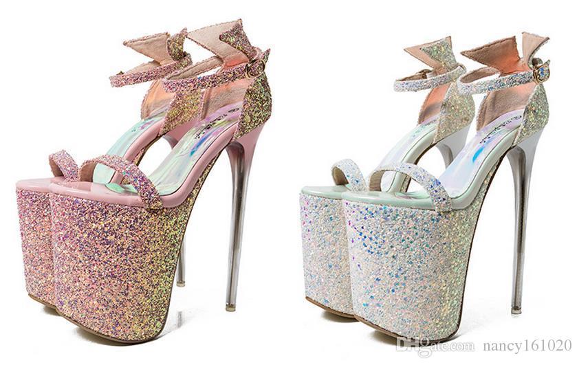 Plus Size 35-43 19cm Super High Heels Summer Women Sandals Cutout Platform Buckle Strap Sequined Leaether Women Fashion Sandals Open Toe