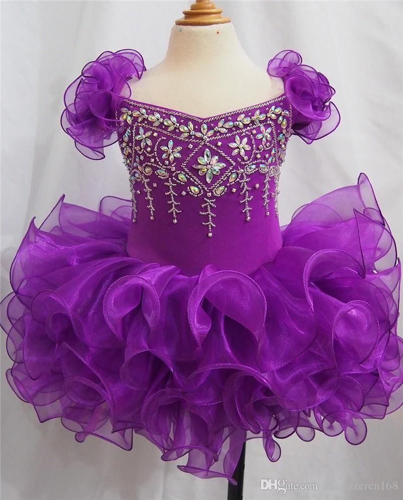 Hot sell Lovely purple skirt hard yarn nail bead Girl's Pageant Dresses Custom size First communion Prom Dress