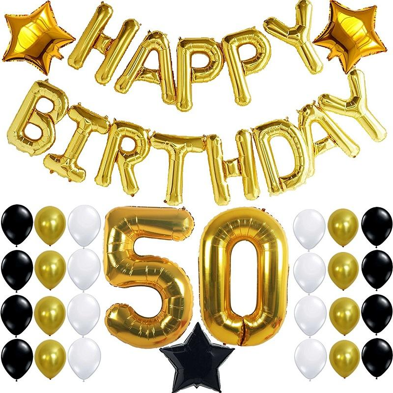 50th Birthday Party Decorations Kit With Happy Banner Foil BalloonsBalck Gold And White Latex BalloonsPerfect Supplies Hanging