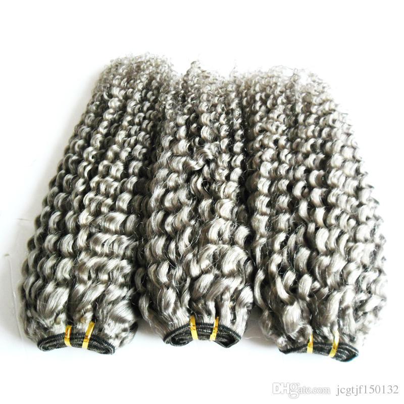 브라질 변태 곱슬 버진 인간의 머리카락 회색 변태의 짜다 머리 처리되지 않은 버진 브라질의 회색 머리카락 확장 300g