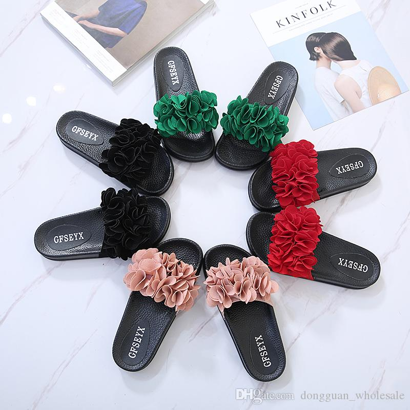 fda502f930c746 Flower Design Woman Flip Flops Ladies Slippers Floral Beach Sandals Woman  Slides Platform Sandals Sweet Floral Flip Flops 35 42 Biker Boots Gold Shoes  From ...