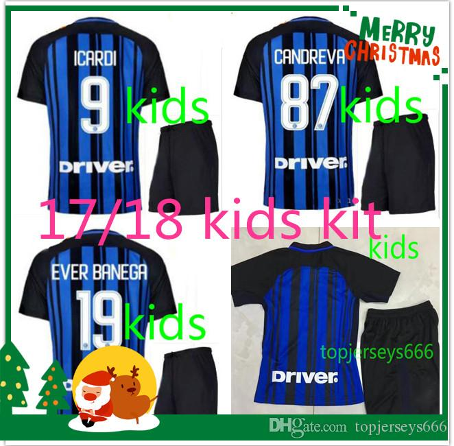 76abf456bac30 Kit Niños Inter 2017 2018 Milán Fútbol Casero Jerseys Icardi Perisic 17 18  Niños Candreva Banega D ambrosio Eder Niños Lejos Camisetas De Fútbol Por  ...