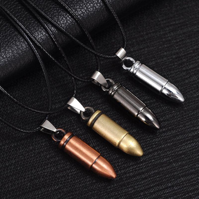 Hombres Collares de acero titanium Bullet Colgante Collar de cadena de cuero Joyería de las mujeres