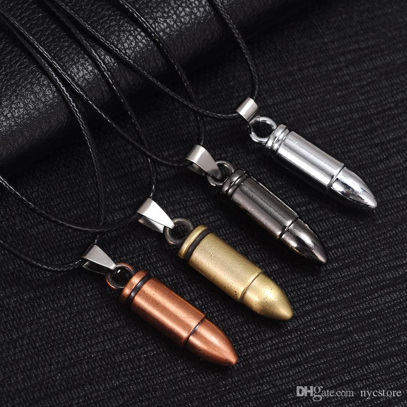 Men Titanium Steel Necklaces Bullet Pendant Leather Chain Necklace Women Jewelry