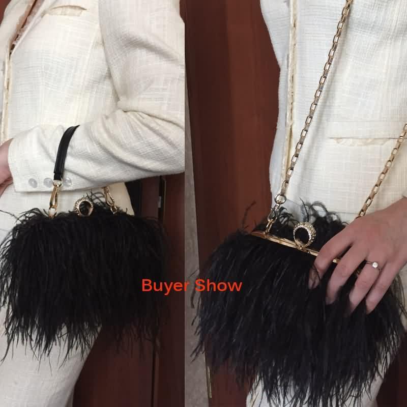 Luxy Moon дизайнер страусиный мех перо кошелек клатч женщины сцепления Алмаз кулака кольца ужин вечерняя сумка цепи кошелек ZD855