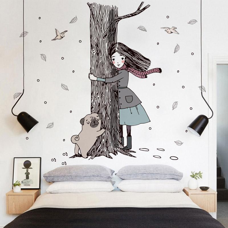 Hold The Tree Girl Dog Wall Stickers For Children Room Girls Bedroom Wall  Decor Decal Art Vinyls Wallpaper Home Decor Flowers Wall Stickers Football  ...