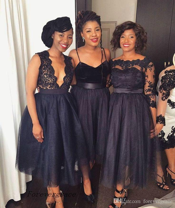 Chic Summer Beach New Navy Blue Bridesmaid Dress A Line Tea Length Wedding Guest Maid of Honor Gown Plus Size Custom Made