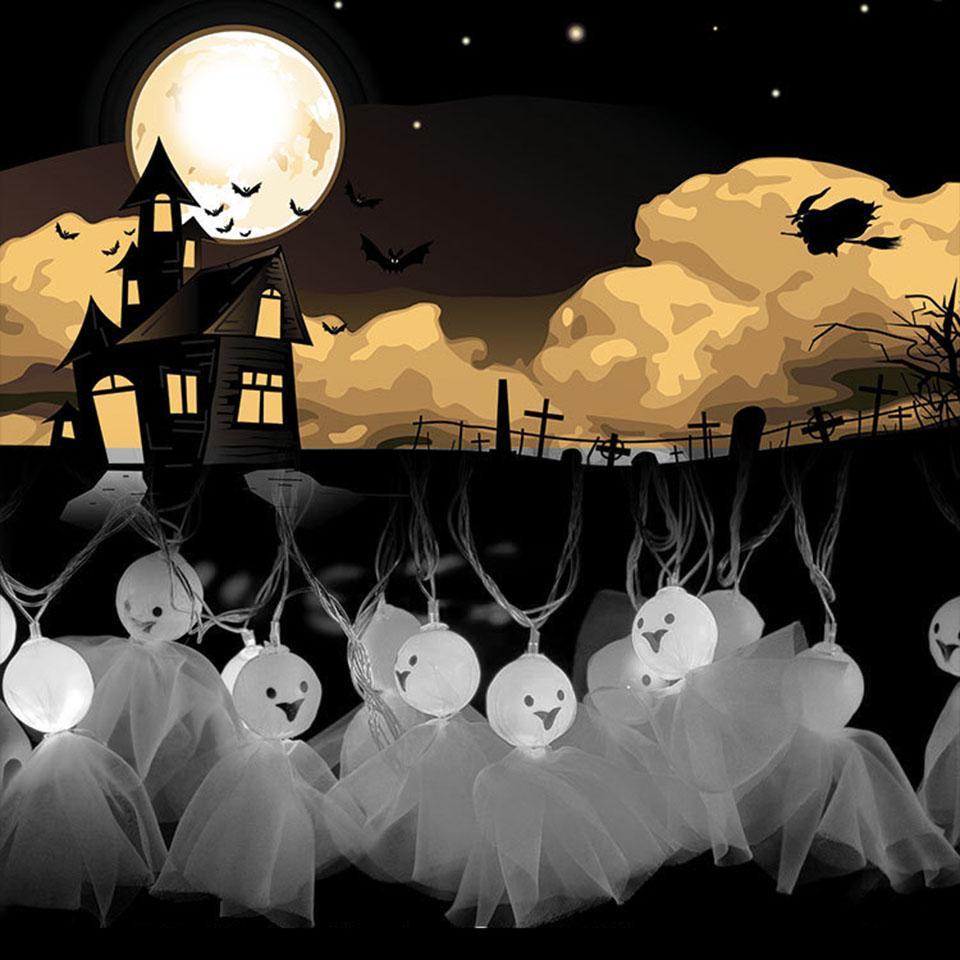 cheap halloween lights ghost shape backyard solar string lights 10
