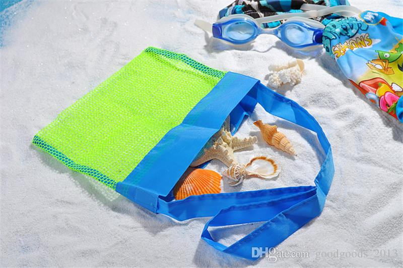 Storage Bags Fashion Beach Mesh Bags Sand Away Collection Toy Bag Storage For Sea Shell Kids Children Tote Organizer B1108-1