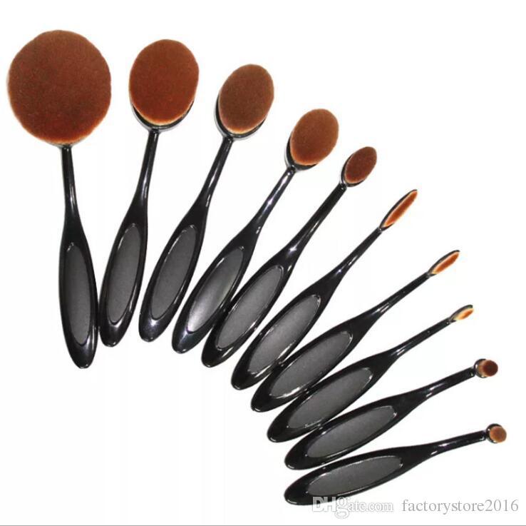 10 stücke Mermaid Oval Foundation Makeup Pinsel Sets Multipurpose Creme Puff Cosmetic Pulver Zahnbürste Kurve Make-up-Tool
