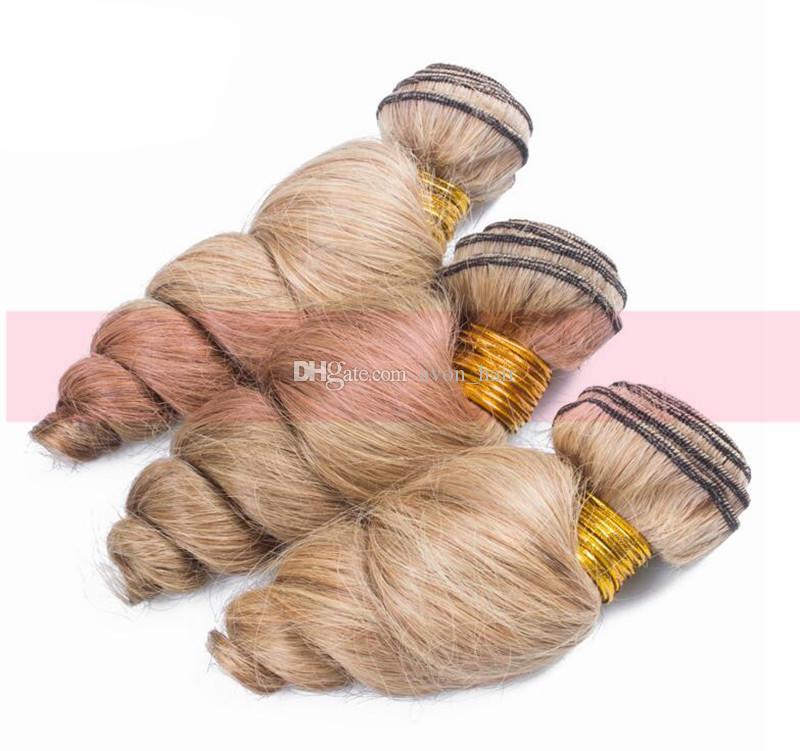 Мед блондинка перуанский девственница свободные вьющиеся человеческие волосы уток с верхним закрытием #27 Свободная волна пучки волос с закрытием кружева
