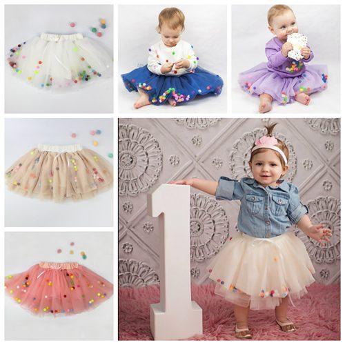 2018 2017 Girl Tulle Skirts Fluffy Baby Tutu Skirt Rainbow Color