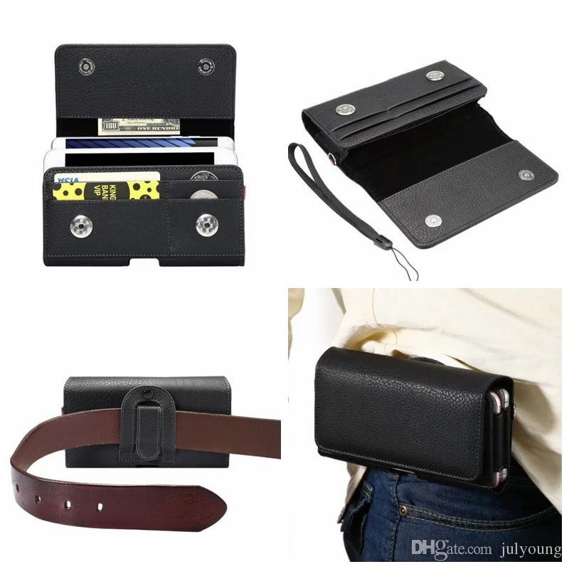 Horizontal Hip Holster Leather For Iphone X 10 8 7 Plus 6 6S SE S7/Sony Z5 XZ XA X Z4 Universal+Two Phone Pouch+6.0Inch Card Slot Clip Belt