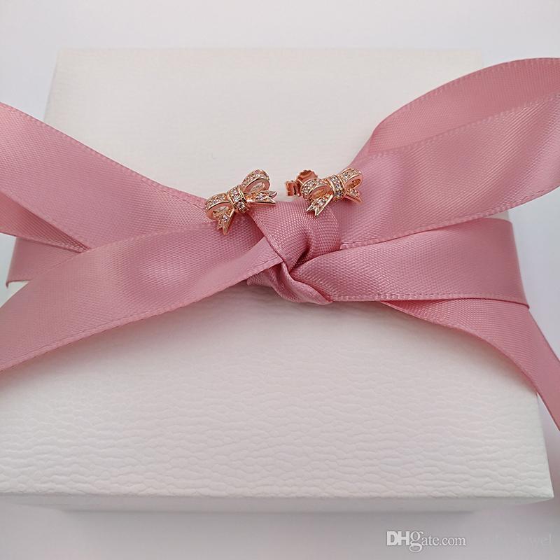 Auténticos pendientes de plata 925 Sterling Bow pendientes para joyería europea Pandora Style 280555CZ pendientes de oro rosa plateados