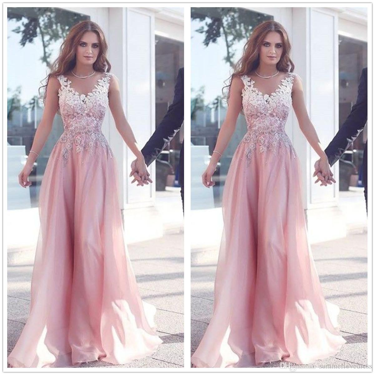 9125ffbf44a 2016 New Sexy Arabic Round Neck Lace Long Prom Dresses Pink Organza Lace  Applique A Line Floor Length Party Evening Dresses Trendy Prom Dresses Baby  Doll ...