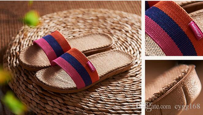 2888ffae27a4b New Sale Linen Slipper Summer Style Floor Breathable Indoor Slippers Women  Shoes Flax Striped Bedroom Shoes Online with  21.56 Pair on Cygg168 s Store  ...