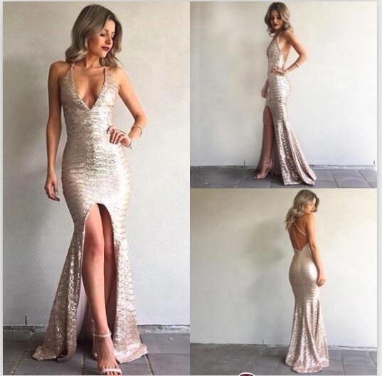 Lentejuelas sirena vestidos de baile Sexy profundo escote en V vestido delantero de Split sin respaldo vestidos de noche del partido de la celebridad por encargo 2017 BA6840