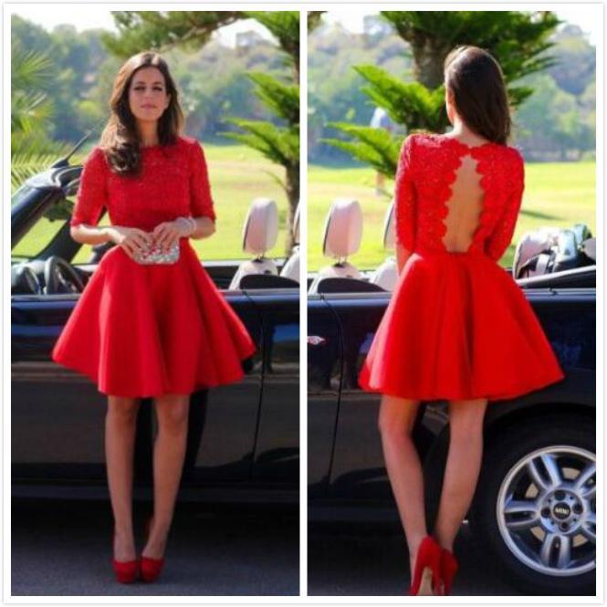 Elegant Red Lace Cocktail Dress Long Sleeve A Line Jewel Knee Length ...