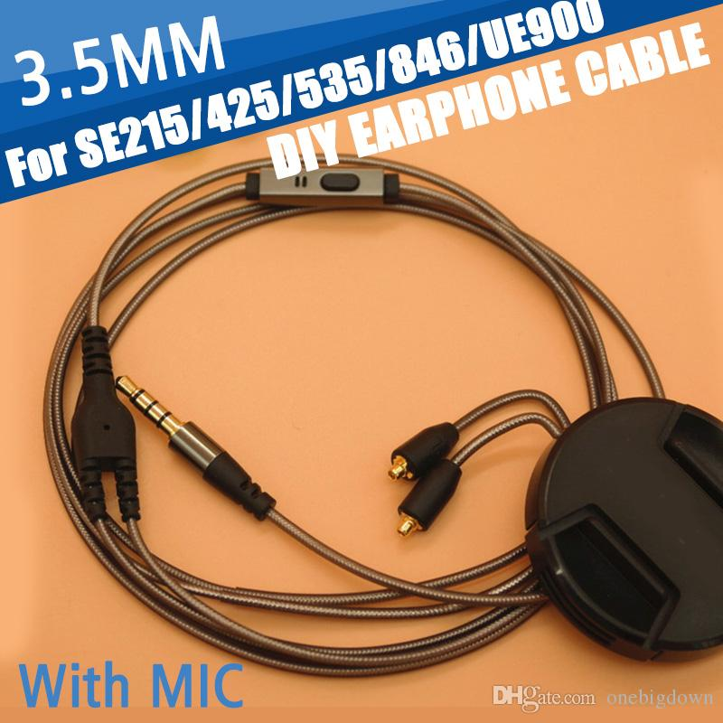 72dda2d9803 130cm DIY Replacement 3.5mm Audio MMCX Plug Cable Repair Headset With MIC Headphone  Earphone Upgrade Cable For Shure SE215 Cell Phones Accessories Phone ...