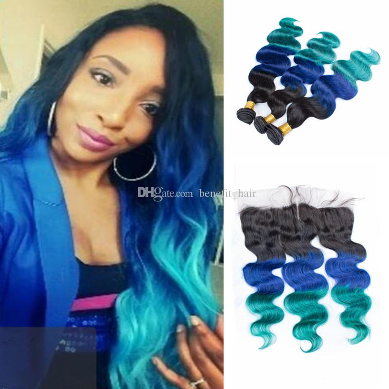 2018 new arrival 1b blue green ombre hair weave with lace frontal see larger image pmusecretfo Choice Image