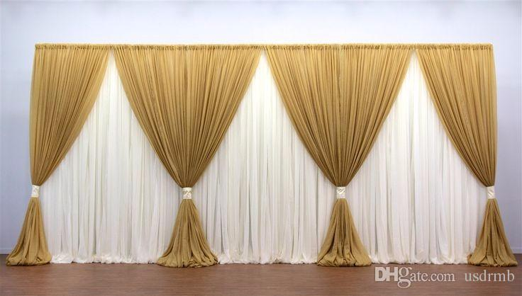 10ft 20ft Gold And White Wedding Backdrop Stage Curtain