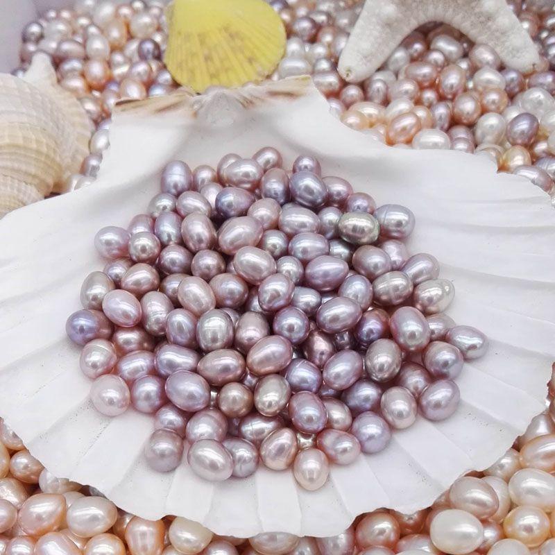 Elevata qualità 6-7mm perle ovali perline perline i bianchi rosa viola viola perle d'acqua dolce la creazione di gioielli forniture all'ingrosso economico