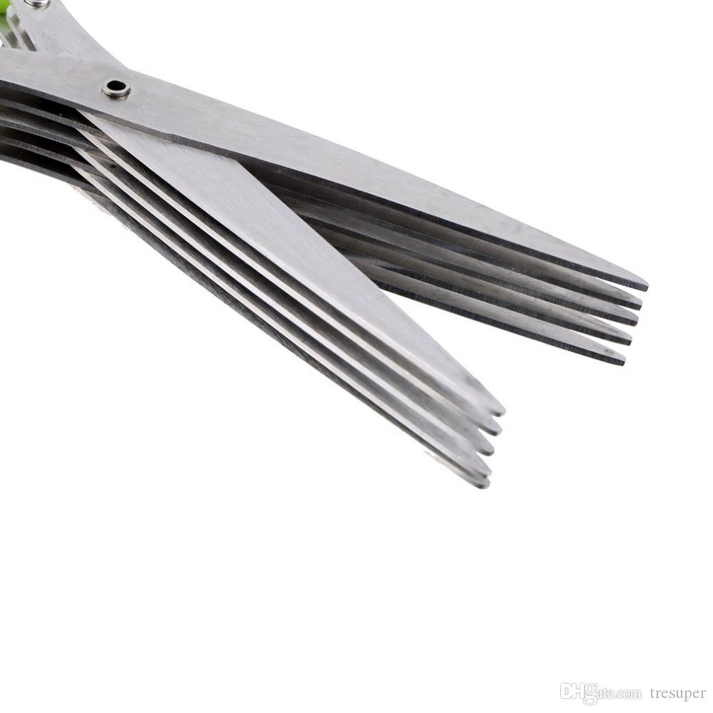 JA13 Multi-functional Stainless Steel Kitchen Knives 5 Layers Scissors Sushi Shredded Scallion Cut Herb Spices Scissors Cooking Tools