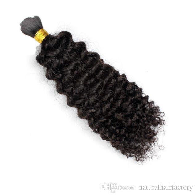 Afro Kinky Curly Brazilian Bulk Human Hair For Braiding 100% Unprocessed Human Braiding Hair Bulk No Weft Natural Black naturalhairfactory